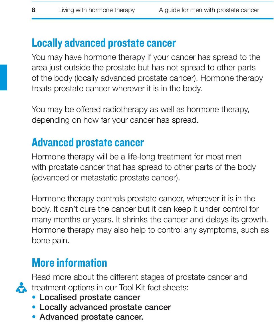 You may be offered radiotherapy as well as hormone therapy, depending on how far your cancer has spread.