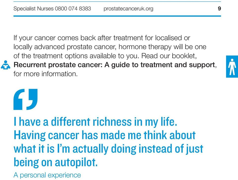 Read our booklet, Recurrent prostate cancer: A guide to treatment and support, for more information.