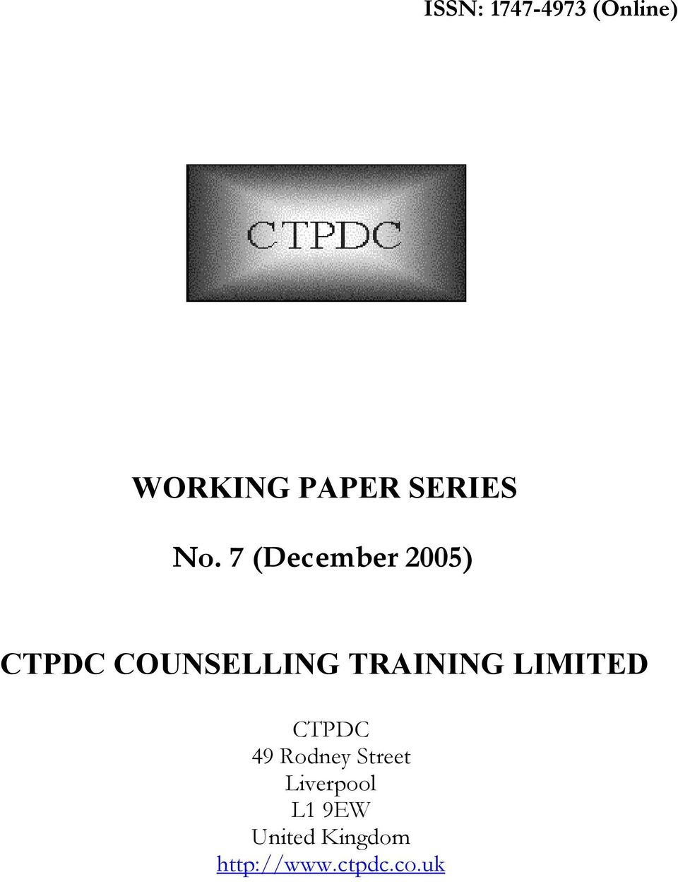 7 (December 2005) CTPDC COUNSELLING TRAINING