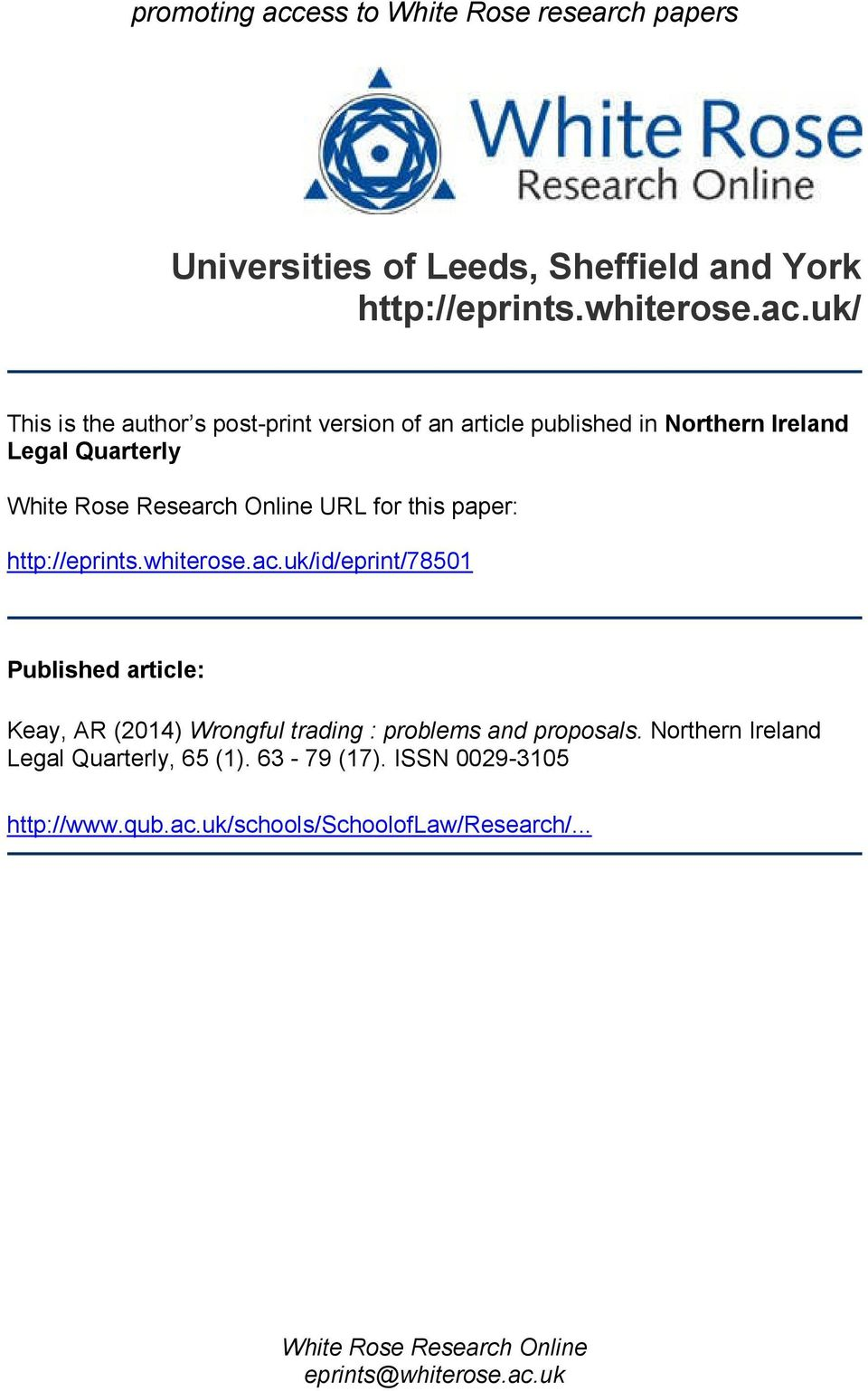 uk/ This is the author s post-print version of an article published in Northern Ireland Legal Quarterly White Rose Research Online URL for