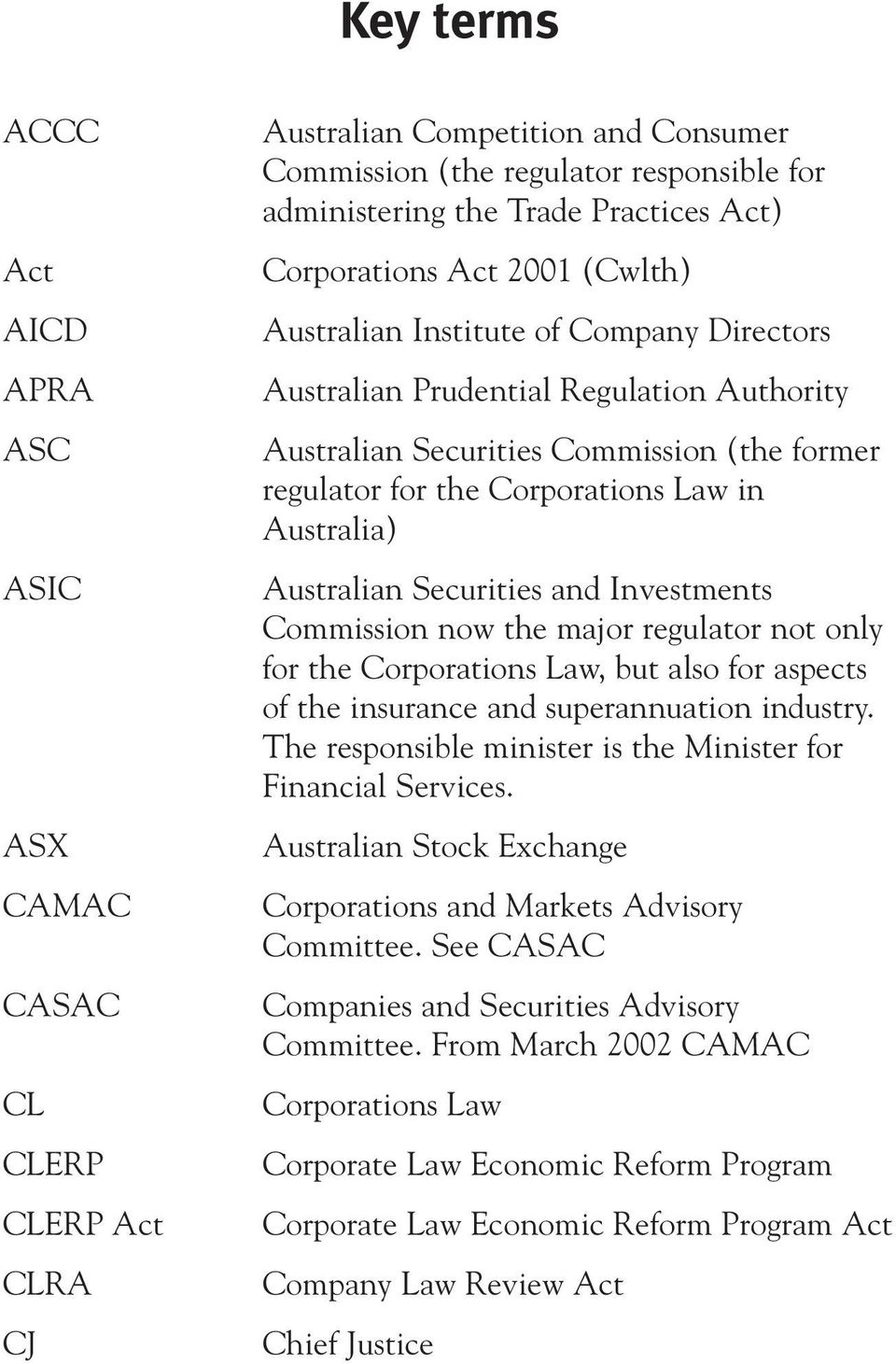 Australia) Australian Securities and Investments Commission now the major regulator not only for the Corporations Law, but also for aspects of the insurance and superannuation industry.