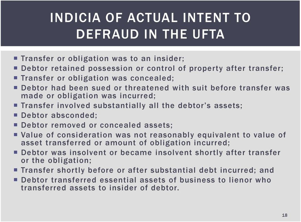 removed or concealed assets; Value of consideration was not reasonably equivalent to value of asset transferred or amount of obligation incurred; Debtor was insolvent or became insolvent
