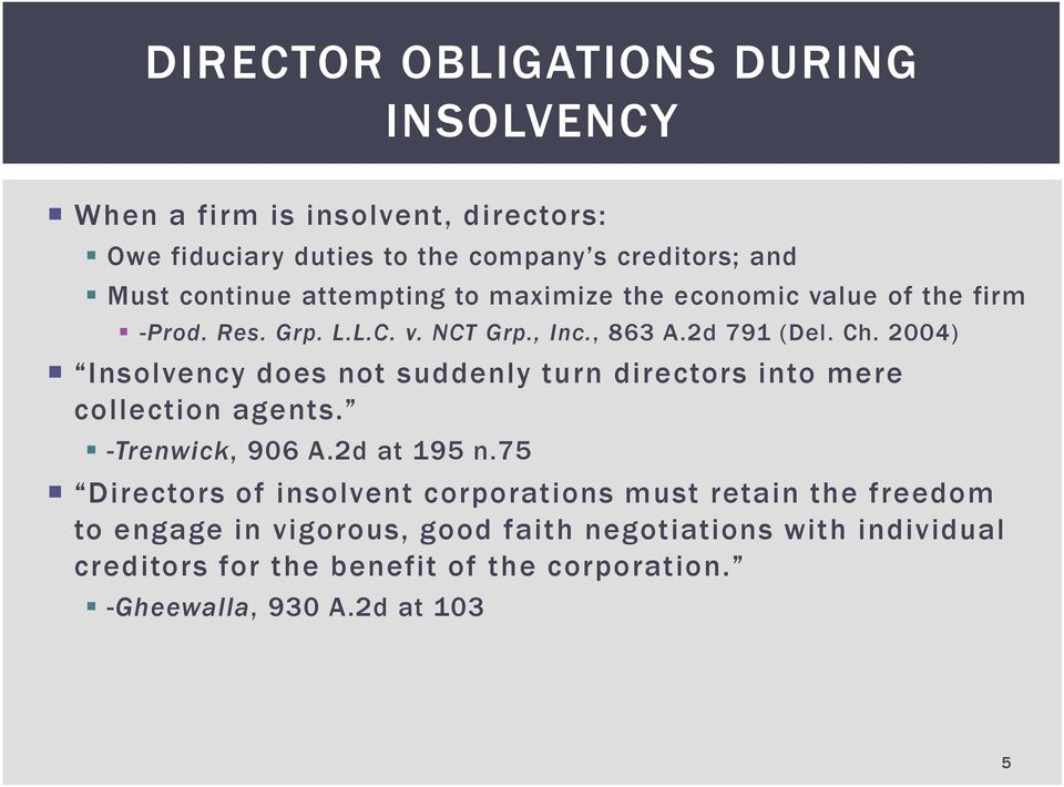 2004) Insolvency does not suddenly turn directors into mere collection agents. -Trenwick, 906 A.2d at 195 n.