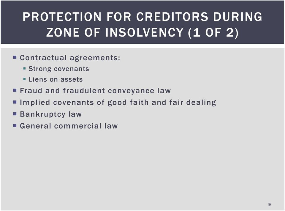 Fraud and fraudulent conveyance law Implied covenants of