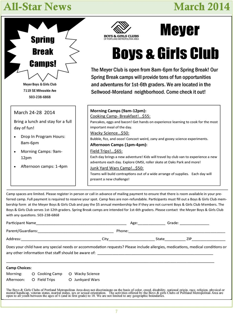 Our Spring Break camps will provide tons of fun opportunities and adventures for 1st-6th graders. We are located in the Sellwood-Moreland neighborhood. Come check it out!