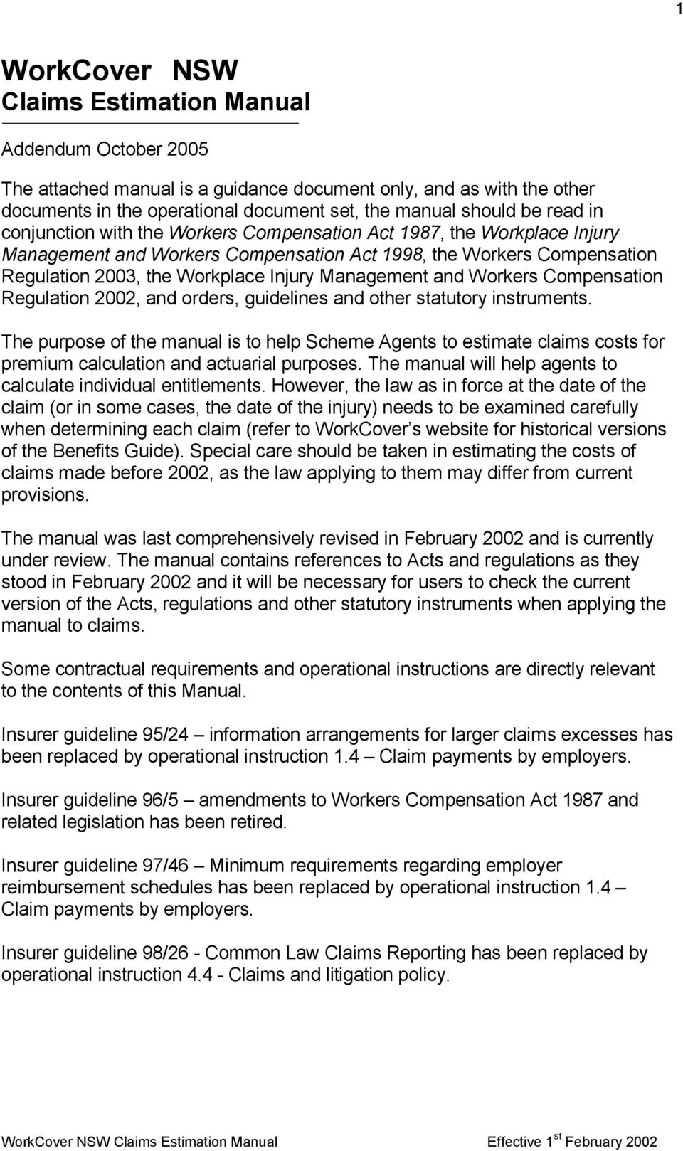 Management and Workers Compensation Regulation 2002, and orders, guidelines and other statutory instruments.