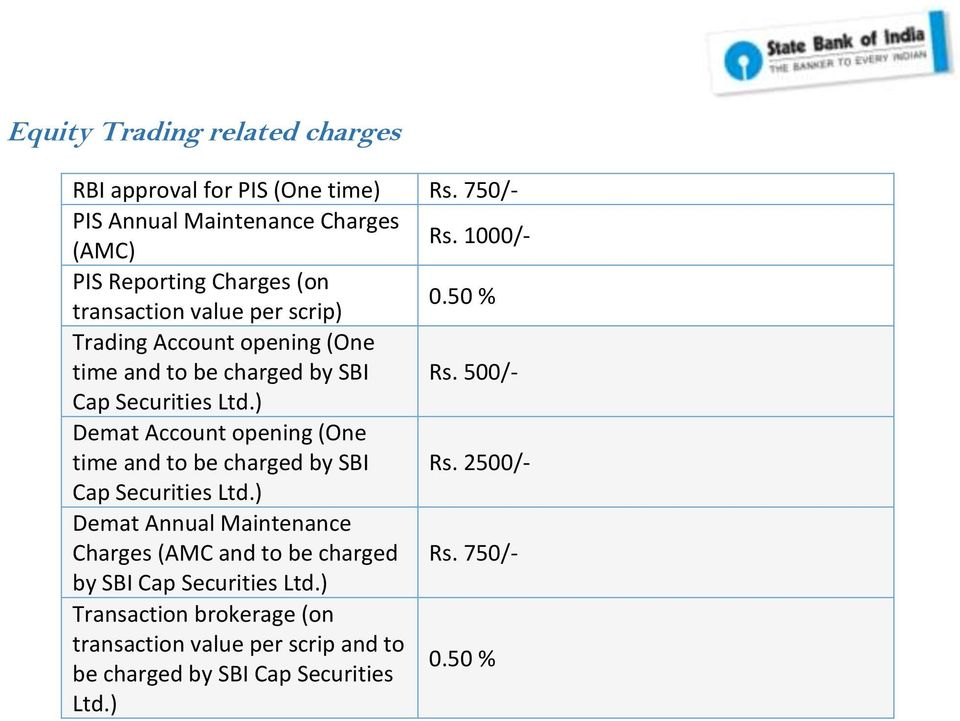 500/- Cap Securities Ltd.) Demat Account opening (One time and to be charged by SBI Rs. 2500/- Cap Securities Ltd.