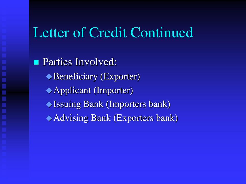 Applicant (Importer) Issuing Bank