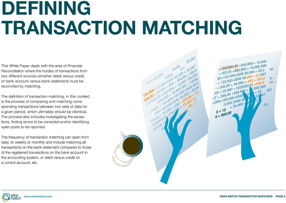 The definition of transaction matching, in this context, is the process of comparing and matching corresponding transactions between two sets of data for a given period, which ultimately should be