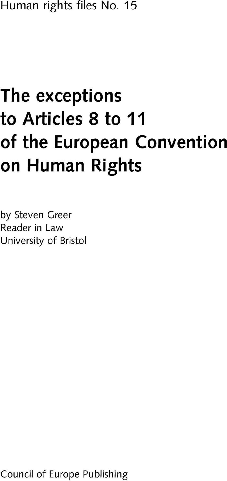European Convention on Human Rights by Steven