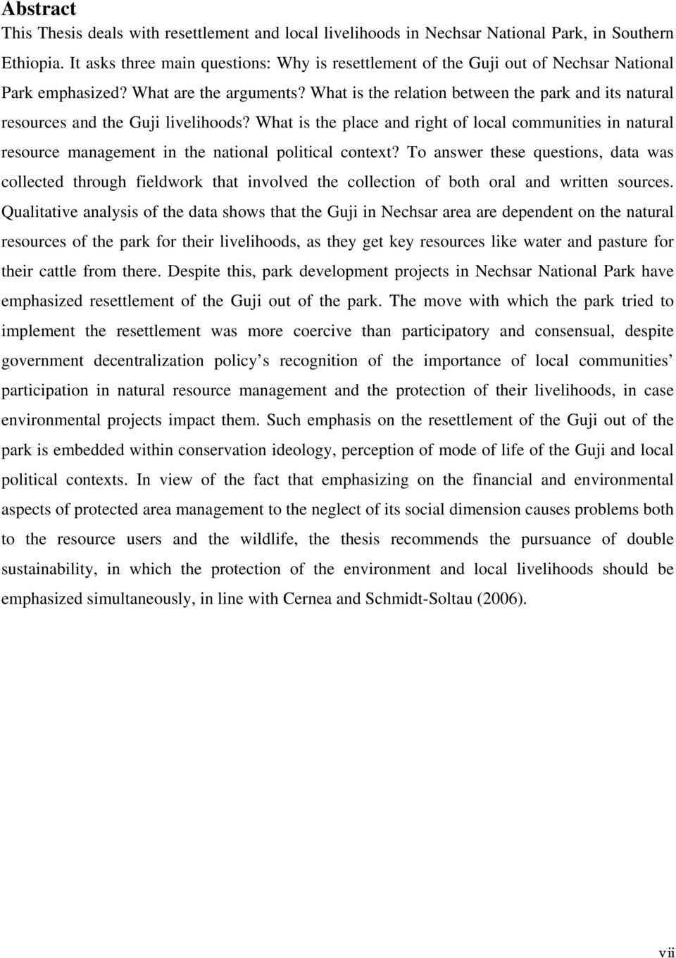 What is the relation between the park and its natural resources and the Guji livelihoods?