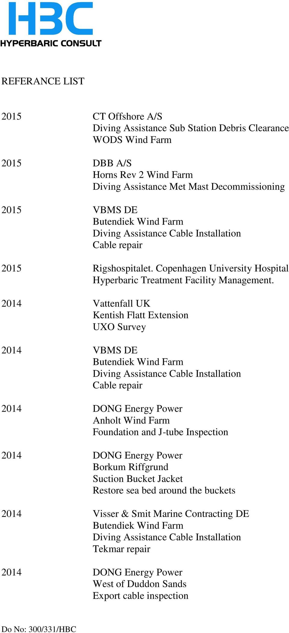 Copenhagen University Hospital 2014 Vattenfall UK Kentish Flatt Extension UXO Survey 2014 VBMS DE Butendiek Wind Farm Cable repair 2014 DONG Energy Power Anholt Wind Farm
