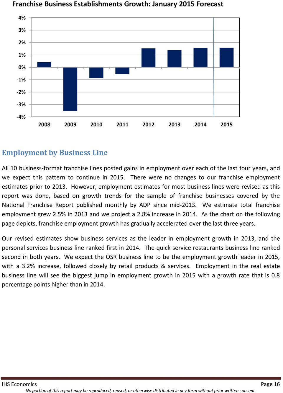 However, employment estimates for most business lines were revised as this report was done, based on growth trends for the sample of franchise businesses covered by the National Franchise Report