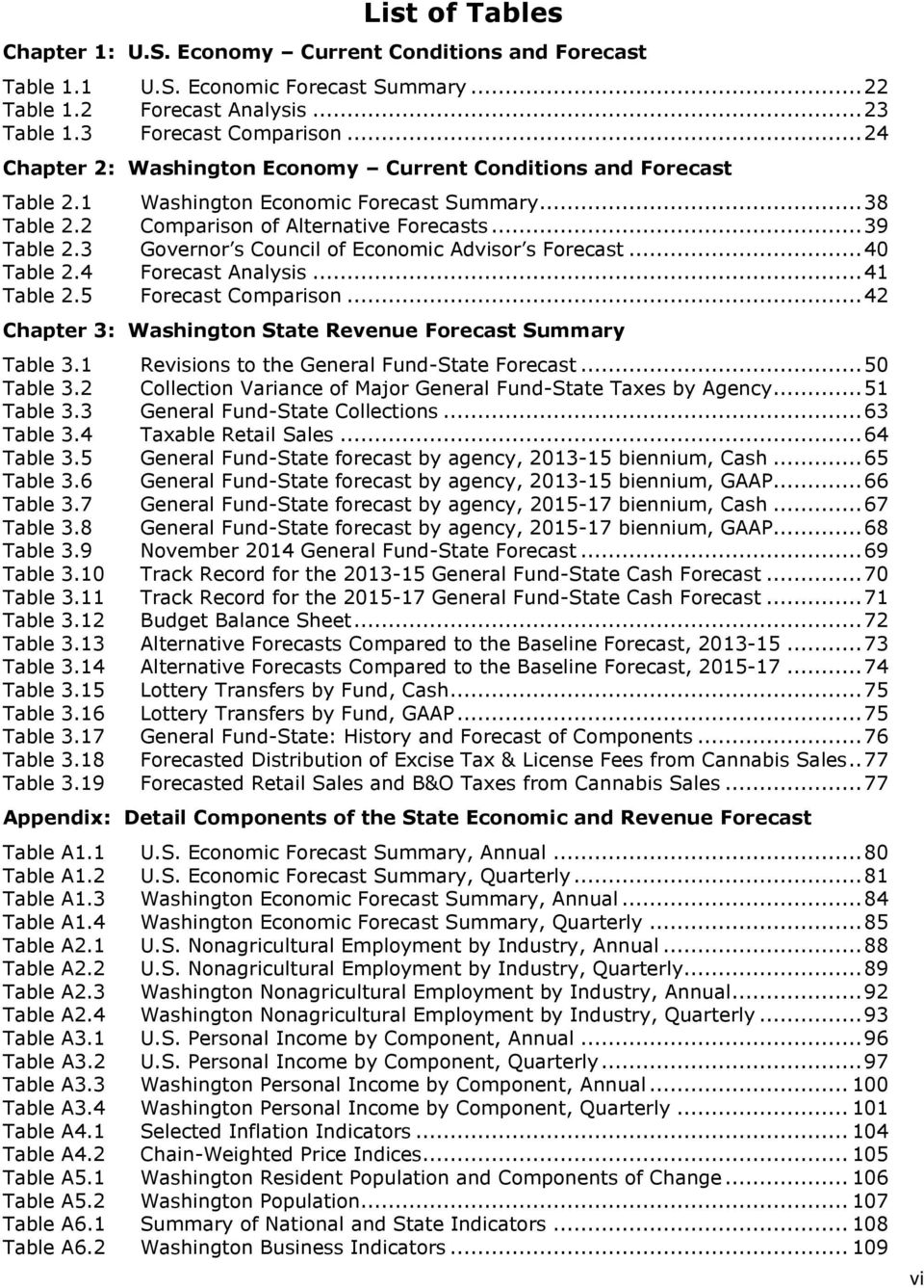 3 Governor s Council of Economic Advisor s Forecast... 40 Table 2.4 Forecast Analysis... 41 Table 2.5 Forecast Comparison... 42 Chapter 3: Washington State Revenue Forecast Summary Table 3.