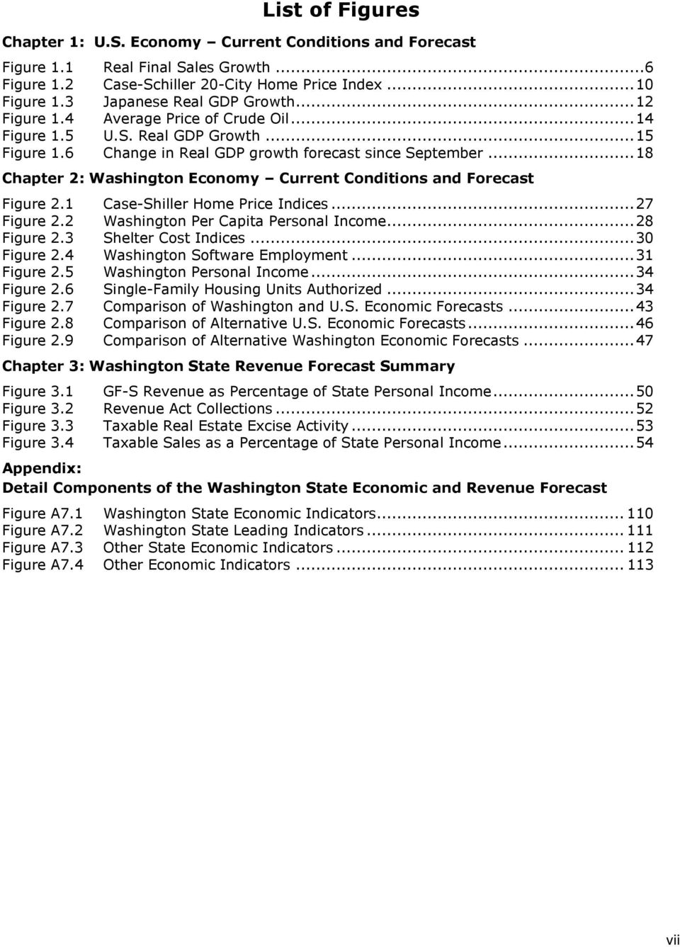 .. 18 Chapter 2: Washington Economy Current Conditions and Forecast Figure 2.1 Case-Shiller Home Price Indices... 27 Figure 2.2 Washington Per Capita Personal Income... 28 Figure 2.