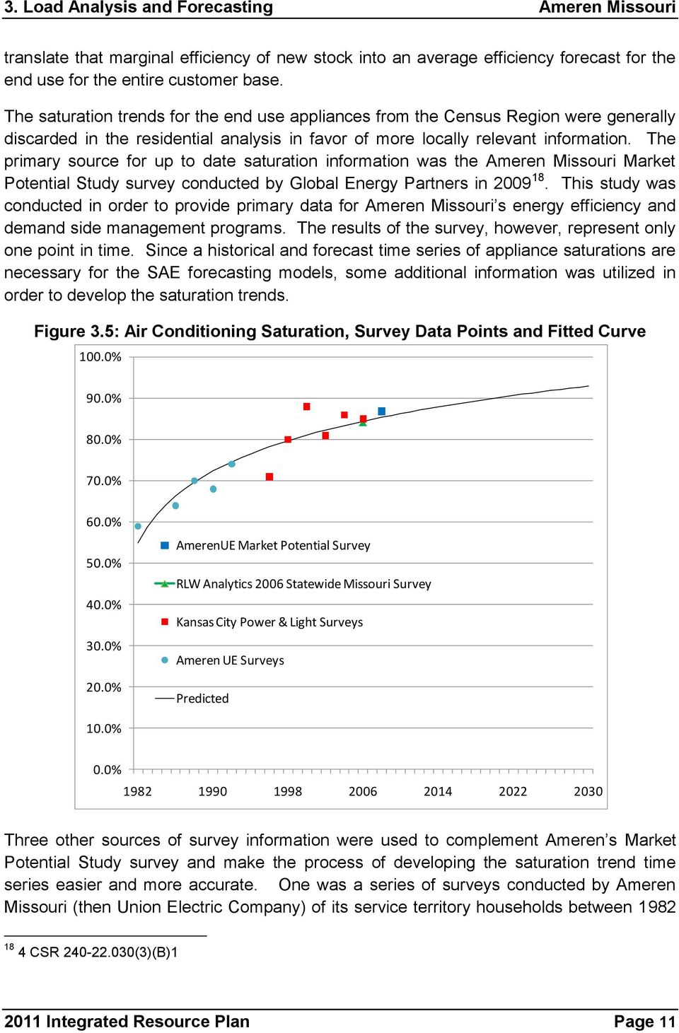The primary source for up to date saturation information was the Ameren Missouri Market Potential Study survey conducted by Global Energy Partners in 2009 18.