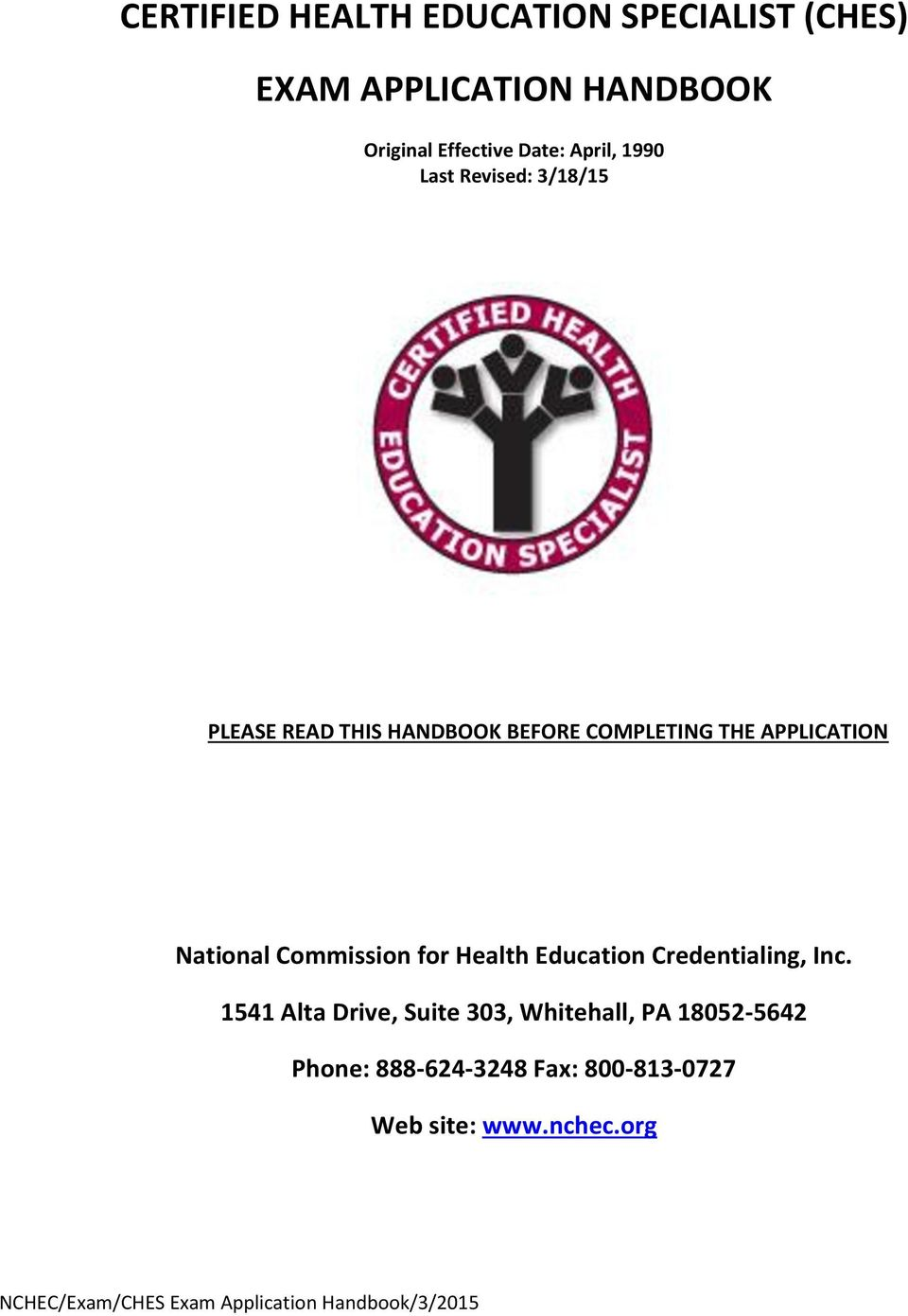 APPLICATION National Commission for Health Education Credentialing, Inc.