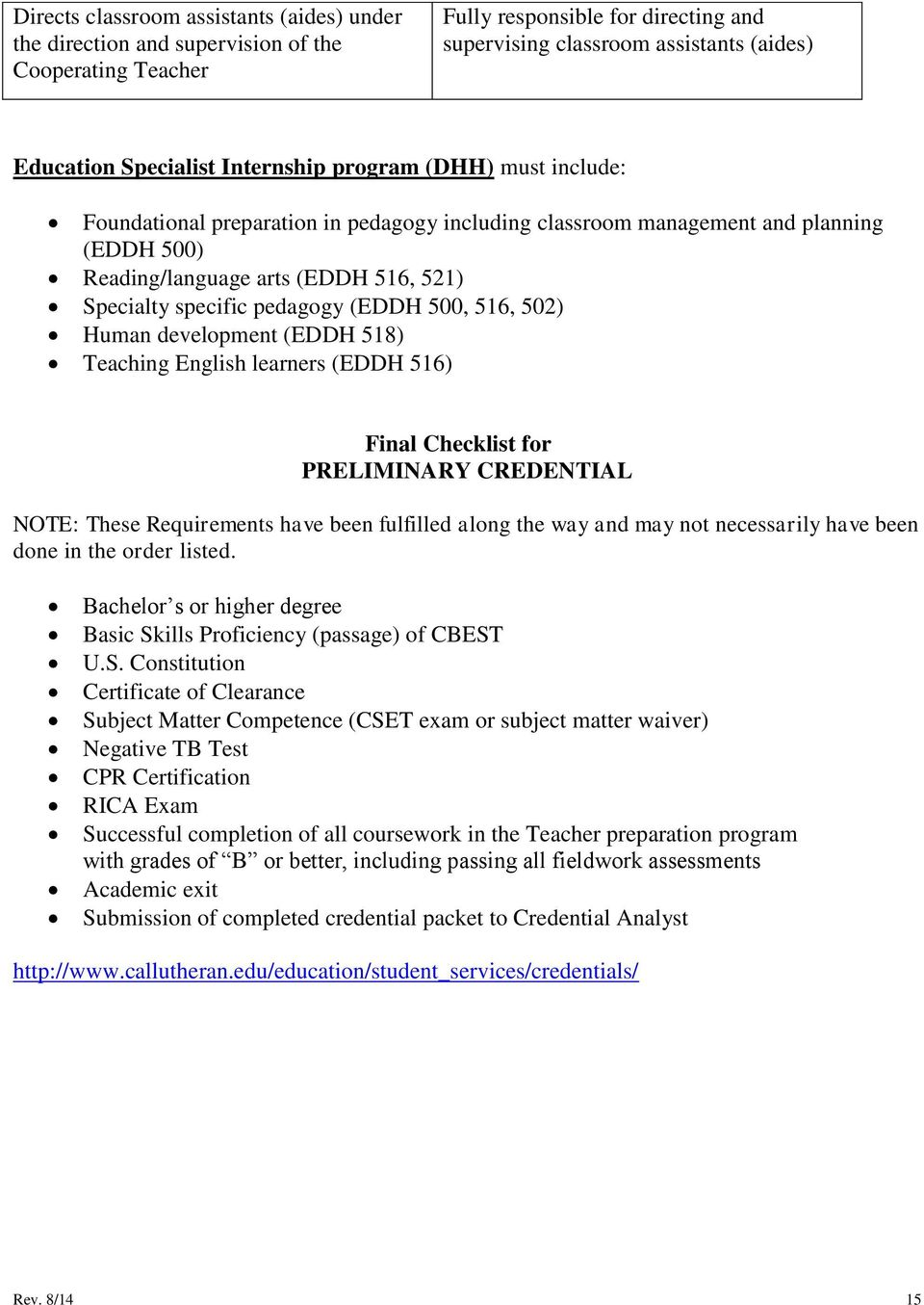(EDDH 500, 516, 502) Human development (EDDH 518) Teaching English learners (EDDH 516) Final Checklist for PRELIMINARY CREDENTIAL NOTE: These Requirements have been fulfilled along the way and may