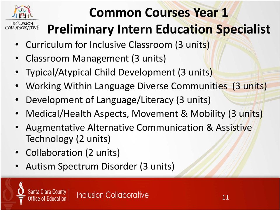 units) Development of Language/Literacy (3 units) Medical/Health Aspects, Movement & Mobility (3 units) Augmentative