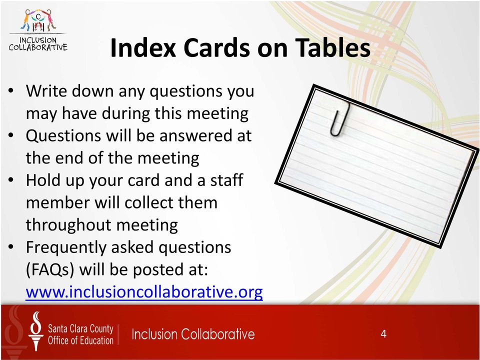 your card and a staff member will collect them throughout meeting