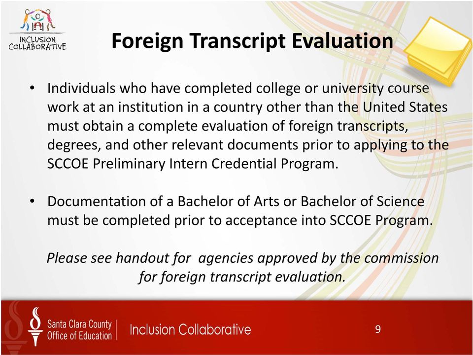 applying to the SCCOE Preliminary Intern Credential Program.
