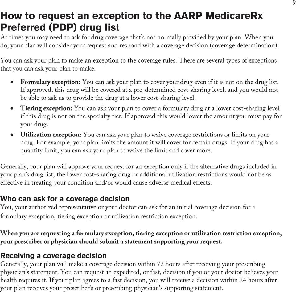 There are several types of exceptions that you can ask your plan to make. Formulary exception: You can ask your plan to cover your drug even if it is not on the drug list.