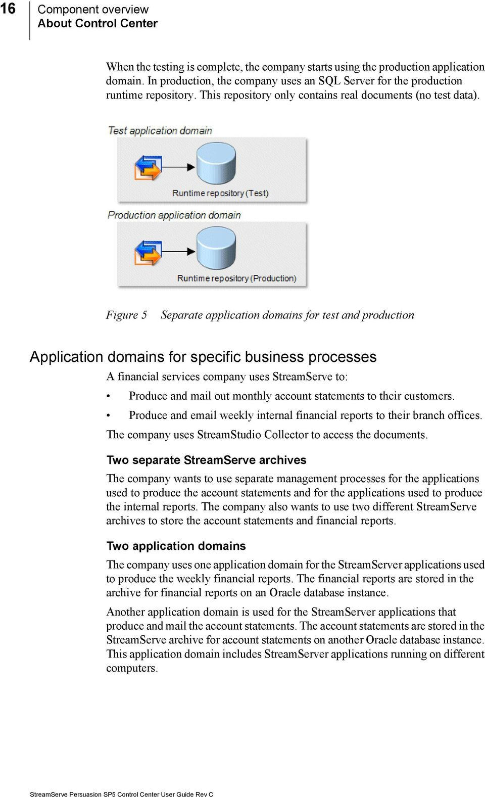 Figure 5 Separate application domains for test and production Application domains for specific business processes A financial services company uses StreamServe to: Produce and mail out monthly