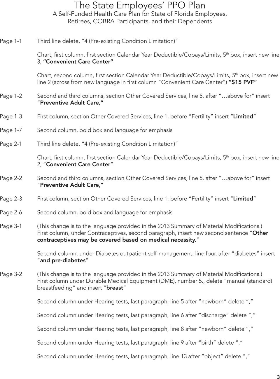 Page 2-1 Second and third columns, section Other Covered Services, line 5, after above for insert Preventive Adult Care, First column, section Other Covered Services, line 1, before Fertility insert