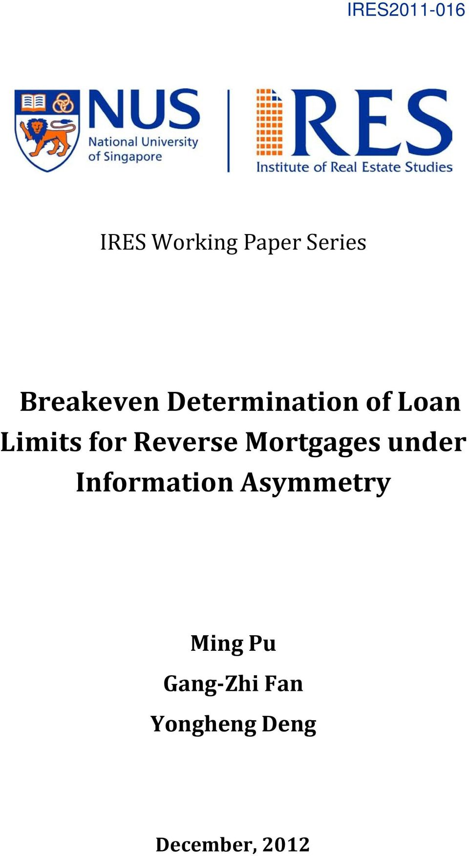 Reverse Morgages under Informaion