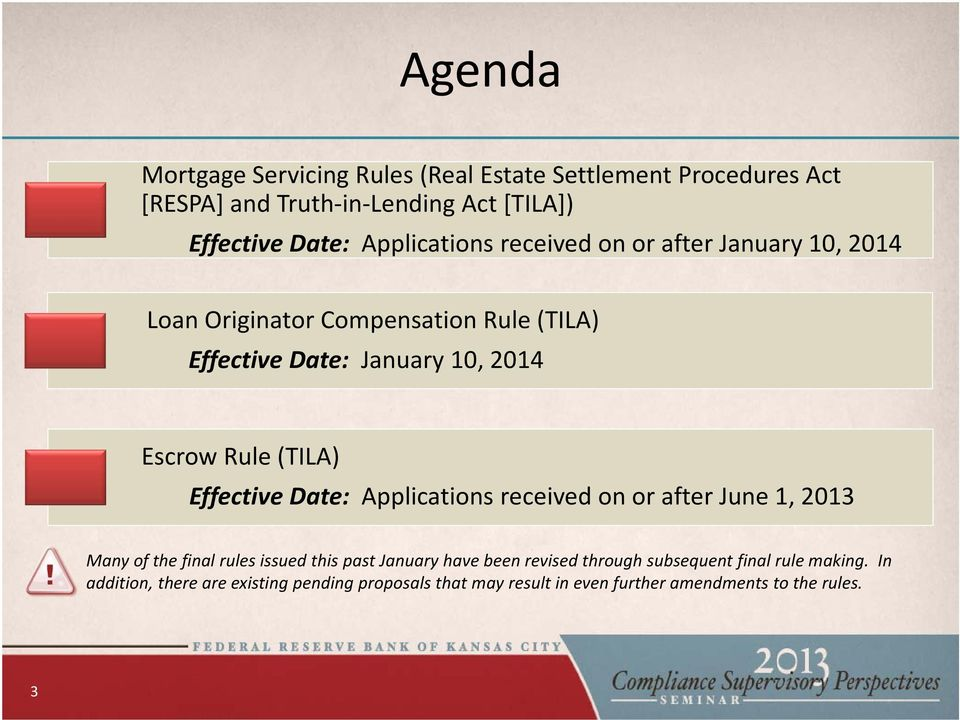 (TILA) Effective Date: Applications received on or after June 1, 2013 Many of the final rules issued this past January have been revised