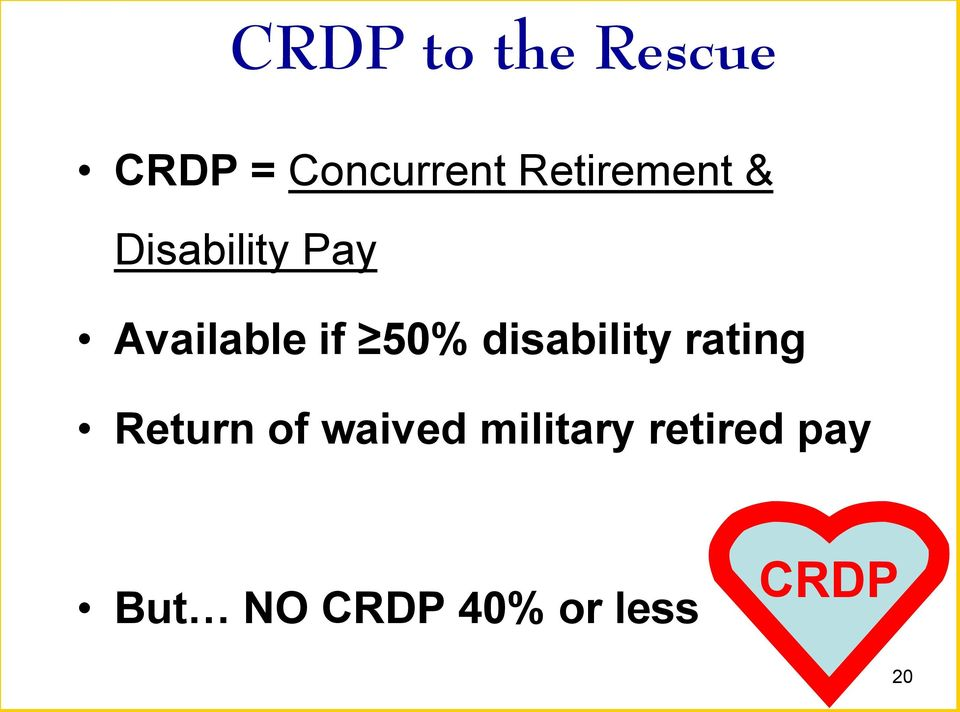 50% disability rating Return of waived