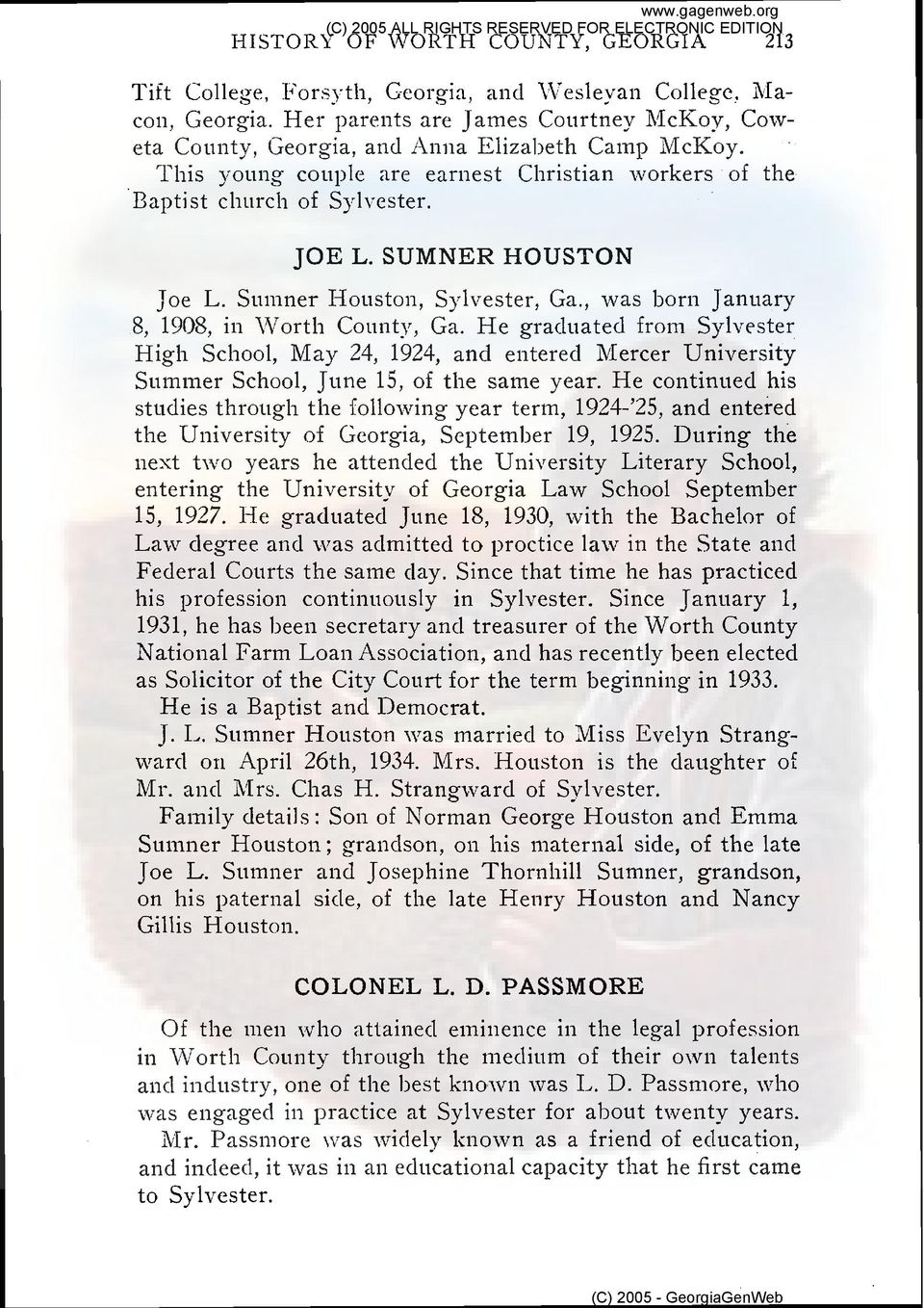 SUMNER HOUSTON Joe L. Suinner Houston, Sylvester, Ga., was born January 8, 1908, in Worth County, Ga.