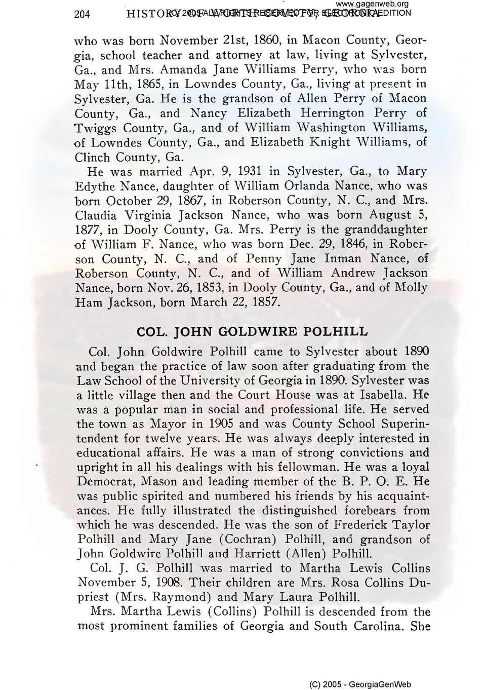 , and Nancy Elizabeth Herrington Perry of Twiggs County, Ga., and of William Washington Williams, of Lowndes County, Ga., and Elizabeth Knight Williams. of Clinch County, Ga. He was married -4pr.