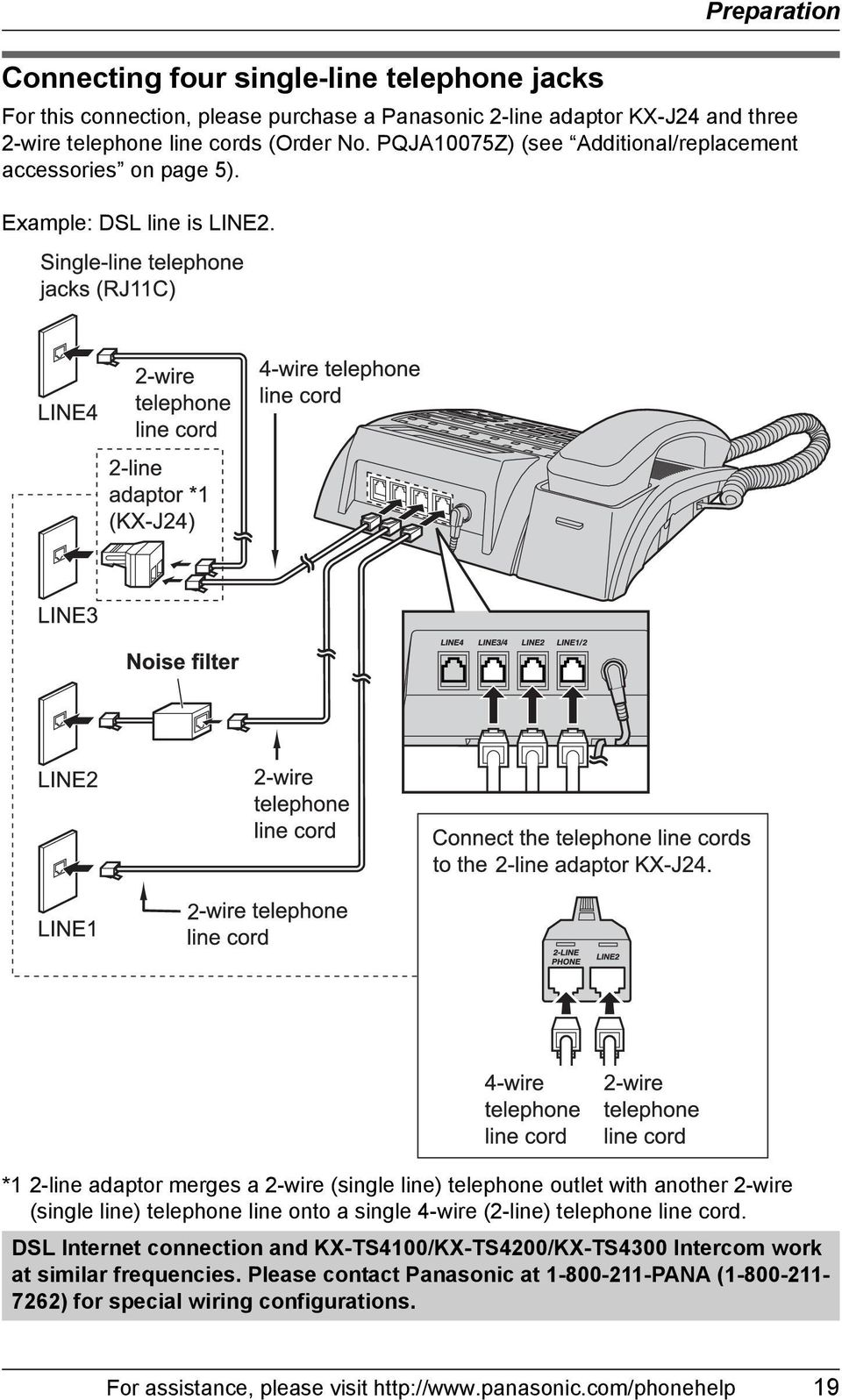 *1 2-line adaptor merges a 2-wire (single line) telephone outlet with another 2-wire (single line) telephone line onto a single 4-wire (2-line) telephone line cord.