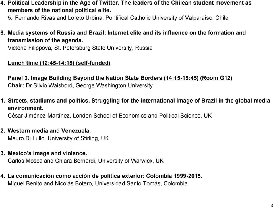 Media systems of Russia and Brazil: Internet elite and its influence on the formation and transmission of the agenda. Victoria Filippova, St.