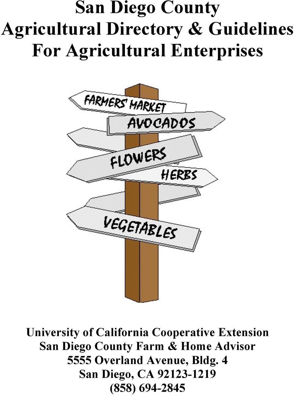Cooperative Extension San Diego County Farm & Home Advisor
