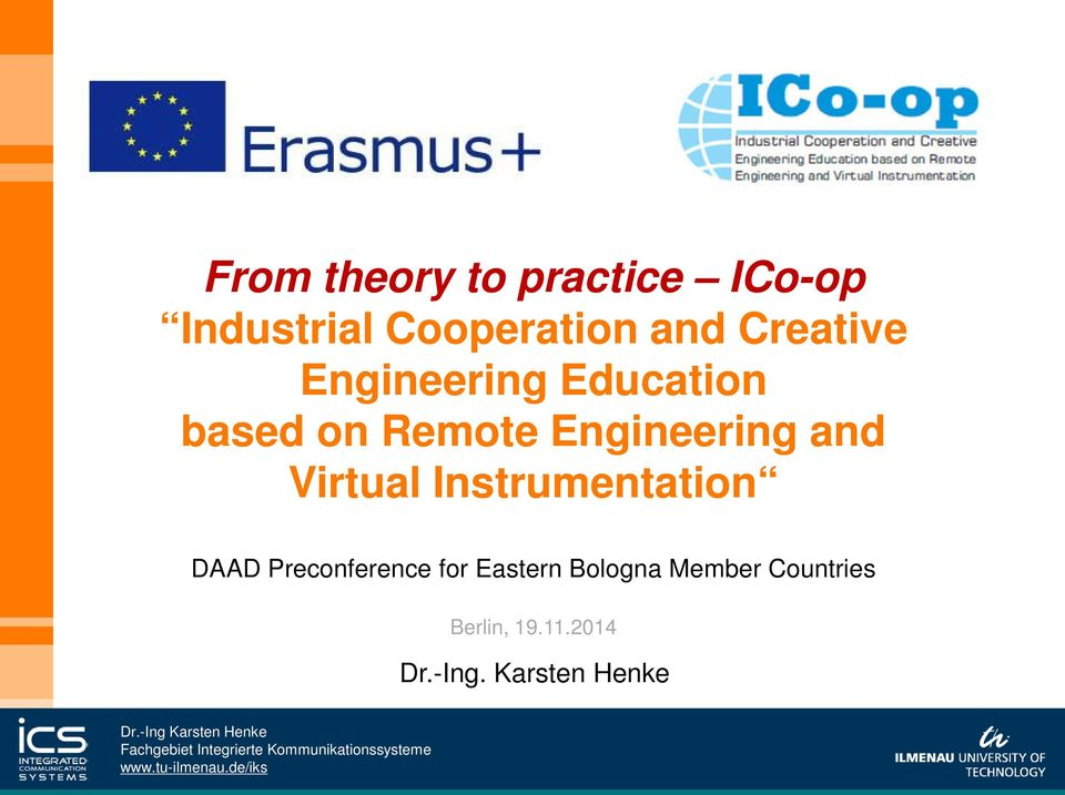 and Virtual Instrumentation DAAD Preconference for Eastern