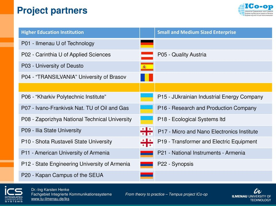TU of Oil and Gas P08 - Zaporizhya National Technical University P09 - Ilia State University P10 - Shota Rustaveli State University P11 - American University of Armenia P12 - State Engineering