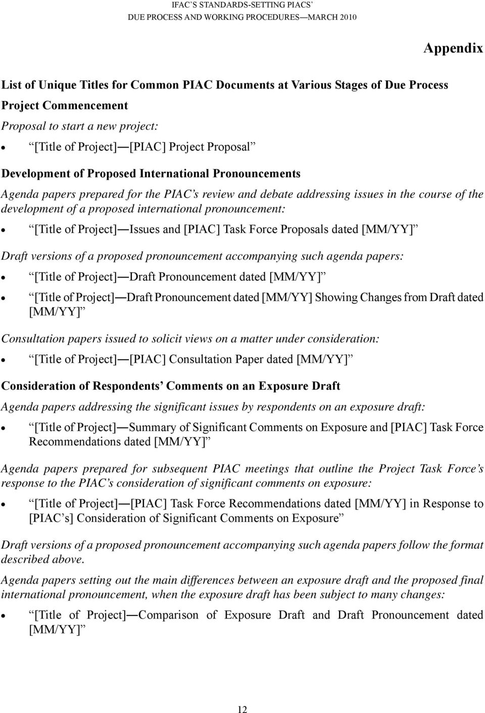 of Project] Issues and [PIAC] Task Force Proposals dated [MM/YY] Draft versions of a proposed pronouncement accompanying such agenda papers: [Title of Project] Draft Pronouncement dated [MM/YY]