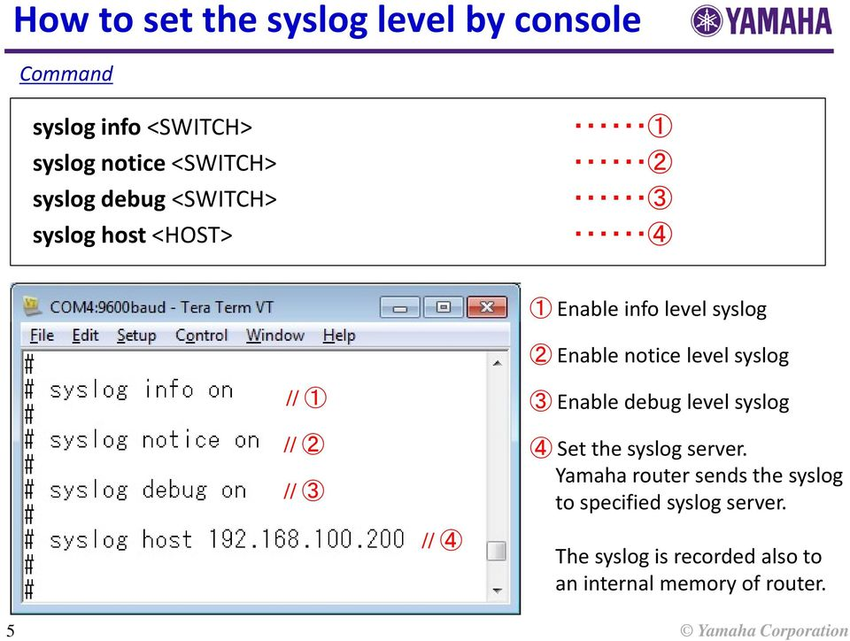 // 1 3 Enable debug level syslog // 2 // 3 4 Set the syslog server.
