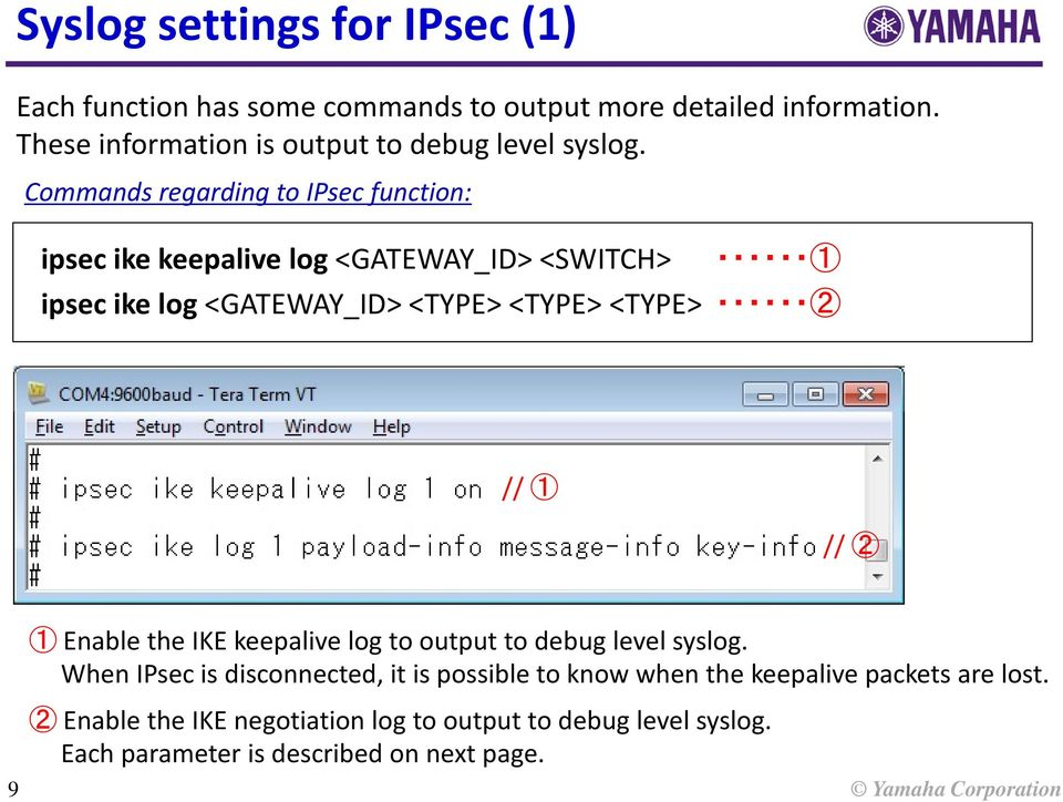 Commands regarding to IPsec function: ipsec ike keepalive log <GATEWAY_ID> <SWITCH> 1 ipsec ike log <GATEWAY_ID> <TYPE> <TYPE> <TYPE> 2 //
