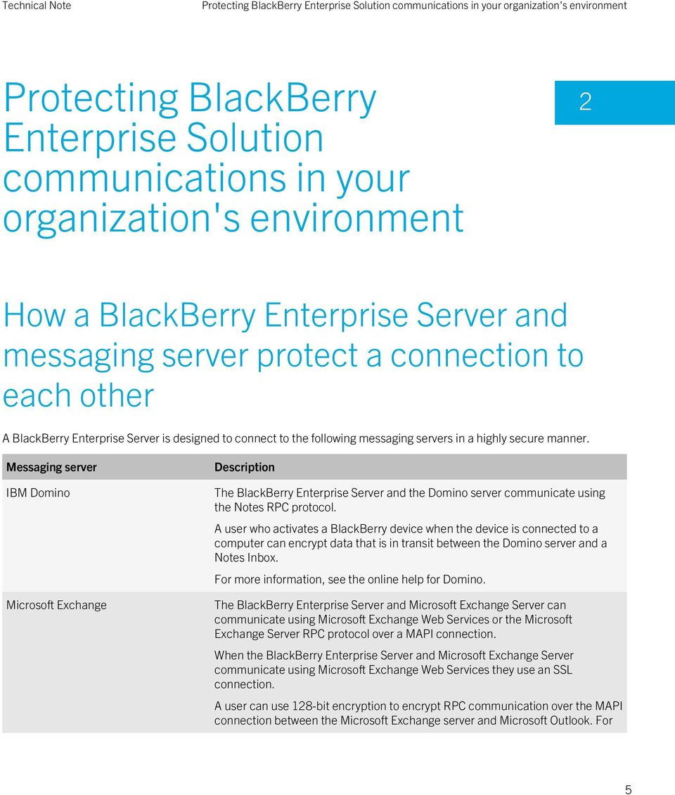 Messaging server IBM Domino Microsoft Exchange Description The BlackBerry Enterprise Server and the Domino server communicate using the Notes RPC protocol.