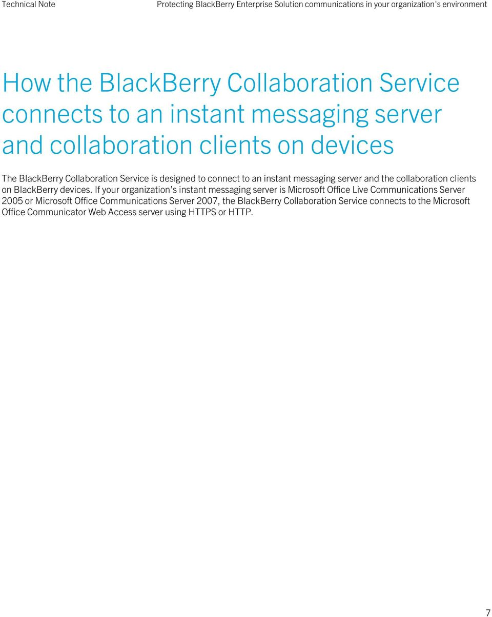 collaboration clients on BlackBerry devices.