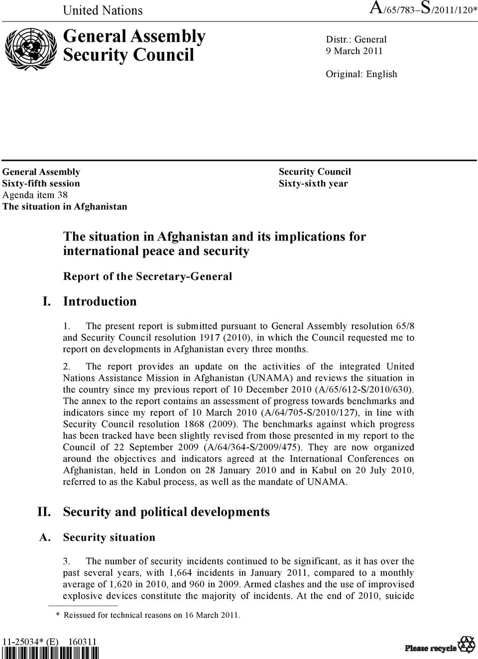 implications for international peace and security Report of the Secretary-General I. Introduction 1.