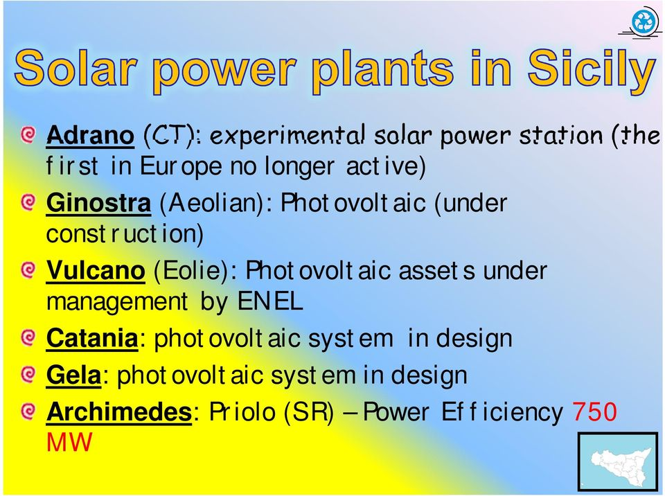 Photovoltaic assets under management by ENEL Catania: photovoltaic system in