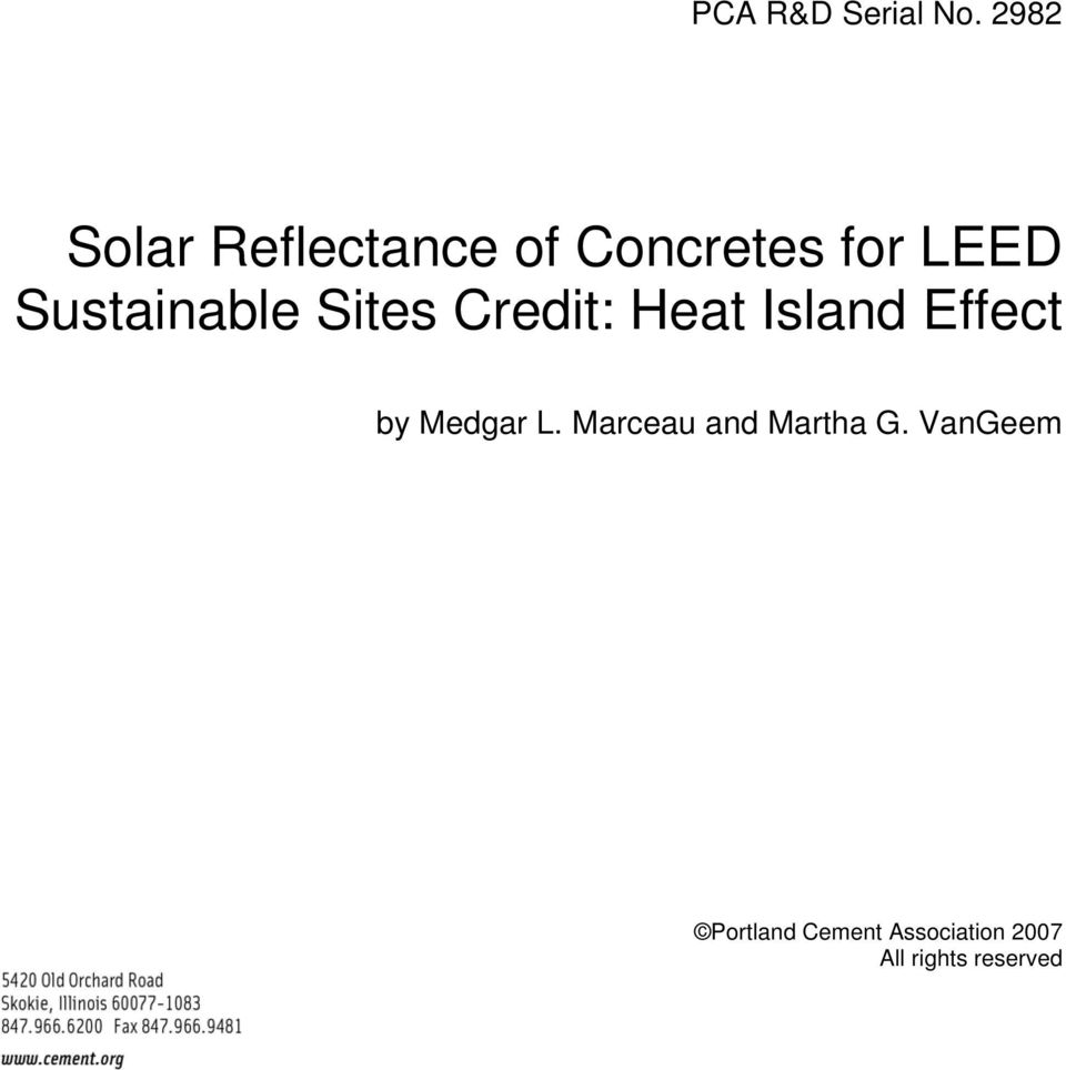 Sustainable Sites Credit: Heat Island Effect by