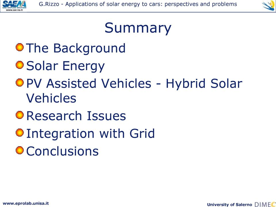 Hybrid Solar Vehicles Research