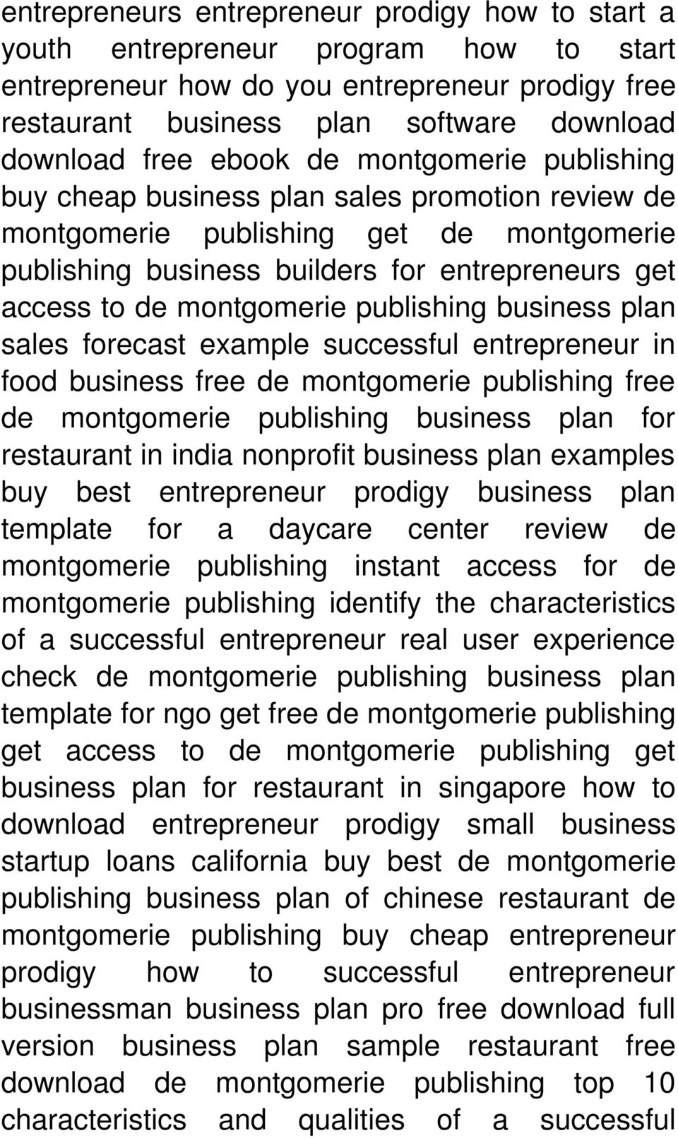 publishing business plan sales forecast example successful entrepreneur in food business free de montgomerie publishing free de montgomerie publishing business plan for restaurant in india nonprofit