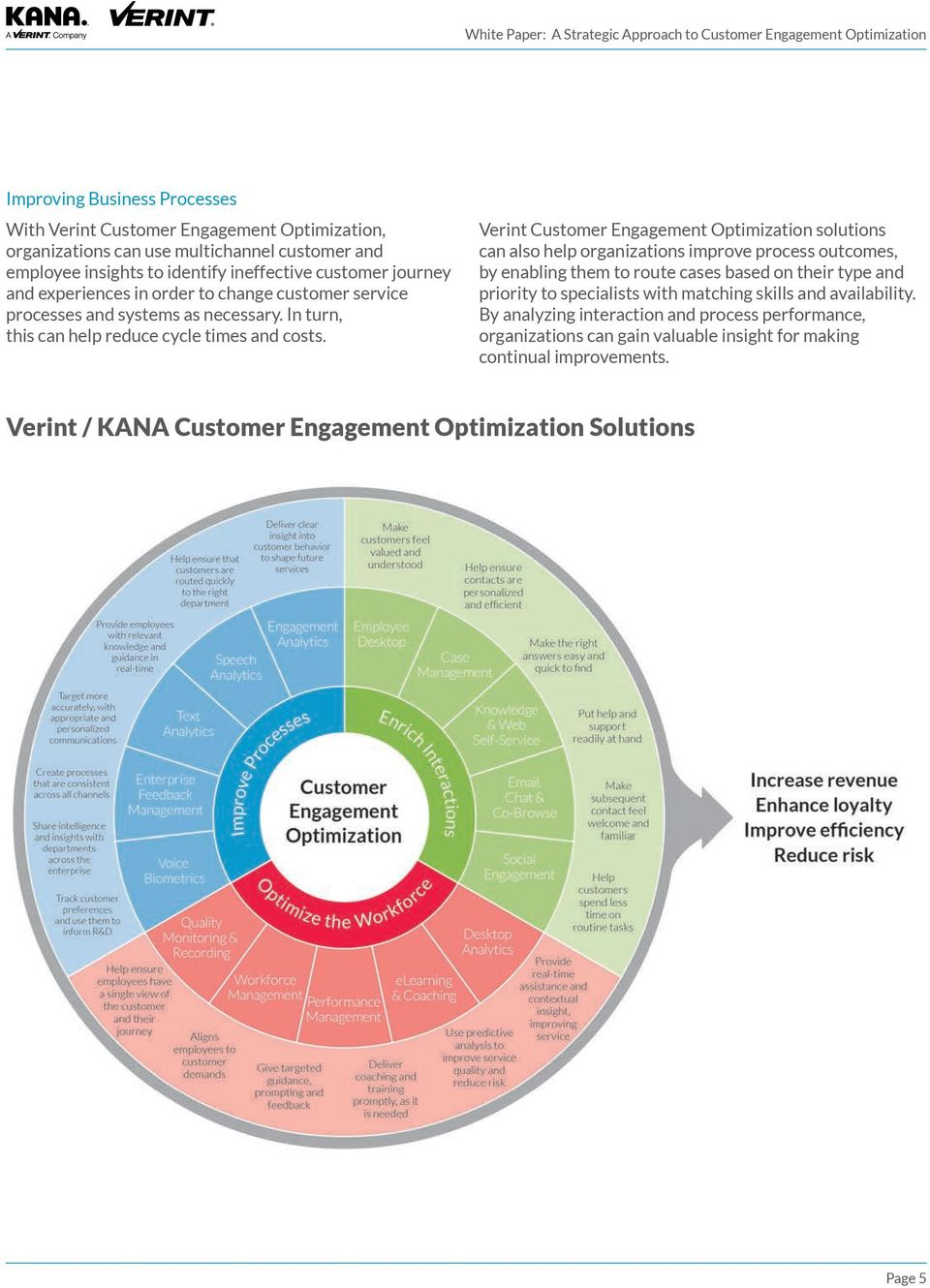 Verint Customer Engagement Optimization solutions can also help organizations improve process outcomes, by enabling them to route cases based on their type and priority to specialists