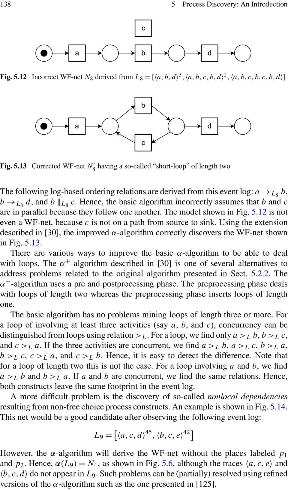12 is not even a WF-net, because c is not on a path from source to sink. Using the extension described in [30], the improved α-algorithm correctly discovers the WF-net shown in Fig. 5.13.